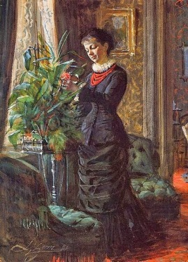 Anders Leonard Zorn (Swedish painter, 1860–1920) Fru Lisen Samson, nee Hirsch, Arranging Flowers at a Window 1881