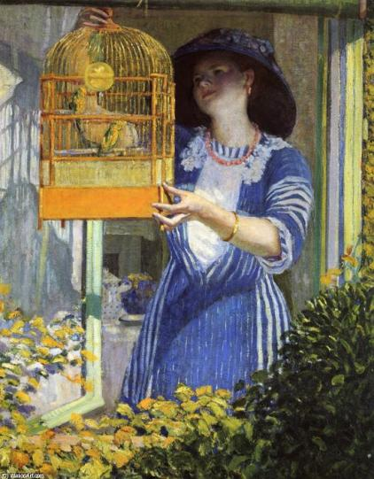 Frederick-Carl-Frieseke-The-Open-Window-Aka-The-Bird-Cage-