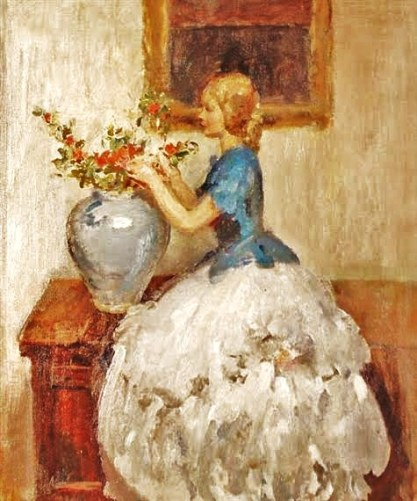Walter Ernest Webster (British artist, 1878-1959) Woman Tending Flowers in a Vase
